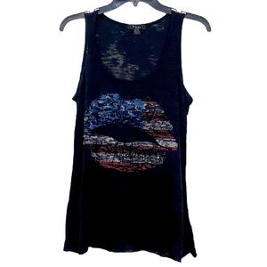 Forever 21 American Flag Lips Tank Black Blue Med